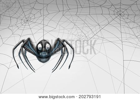 Halloween spider design element background as a creepy crawler arachnid insect hanging from a thread with spiderwebs on white for a promotional message as a 3D illustration.