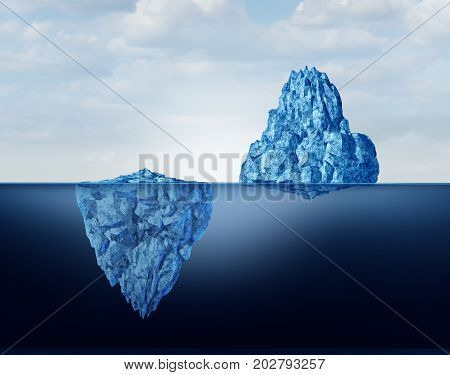 Concept of perspective as a business metaphor for comprehension and vision of discovery and reality as a big and small iceberg symbol as a 3D illustration. poster
