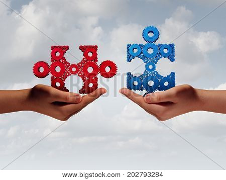 Business solution people concept with human hands putting together a jigsaw puzzle made of gears with 3D illustration elements.