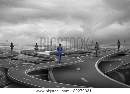 Business people road as businesspeople walking on confused pathways as a corporate symbol for a career path and strategic direction with 3D illustration elements.