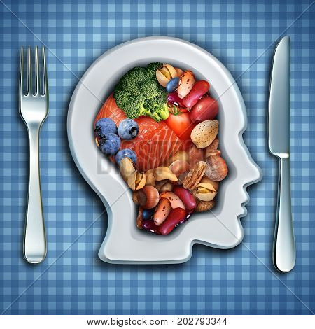 Brain nutrition and brainpower food diet as fish and nuts with broccoli and beans in a dish shaped as a human head as a healthy mind diet symbol with 3D illustration elements.