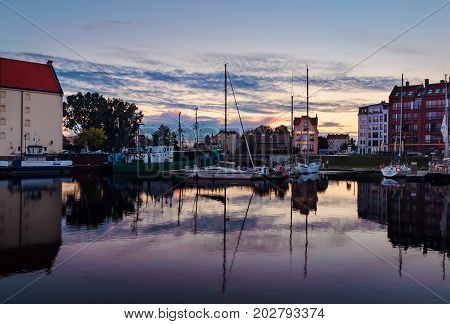 Yachts of Gdansk in the morning. Poland Europe.