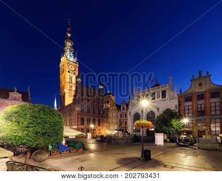 City hall of Gdansk in the early morning Poland Europe.