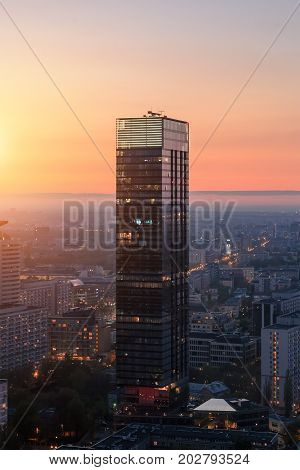 Warsaw city with modern skyscraper during sunset Poland Europe.