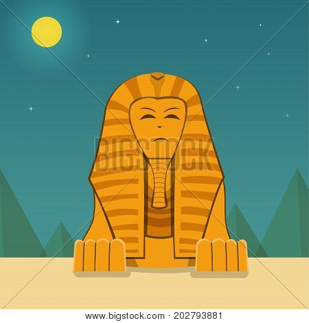 Front view Sphinx at night time vector landscape design