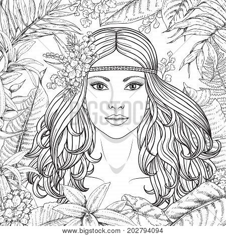 Hand drawn girl and branches leaves of tropical plants. Black and white floral illustration coloring page for adult. Monochrome image of woman with long curly hair. Vector sketch.