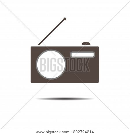 Minimalistic Vector icons with a vintage radio. Logo. Pictogram. Button.