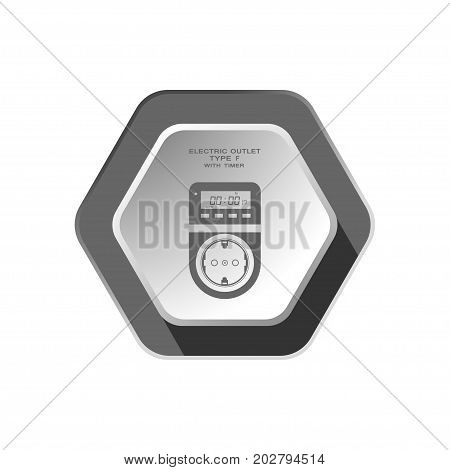 Vector isolated gray icon of electric socket type F with digital timer and LCD on the hexagon background with shadow for use in Europe.