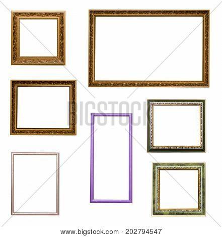 Set of photo image frames isolated on white background.