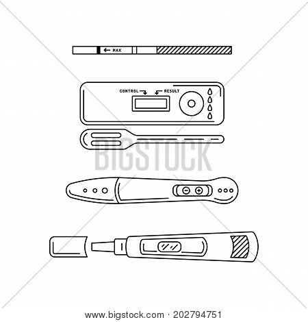 Vector illustration of pregnancy test, different types of tests. Vector outline silhouettes isolated on white background