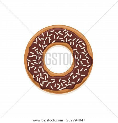 Vector icon of glazed dark chocolate donut with white chocolate sprinkles