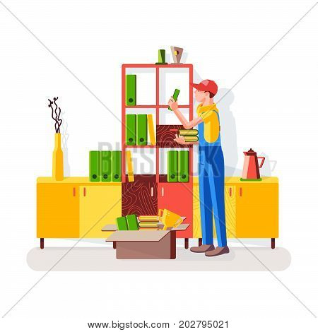 Cleaning of office. Worker is cleaning in the closet. Worker puts the book on the shelves of the cabinet on the background of the interior. Vector illustration in a flat style.
