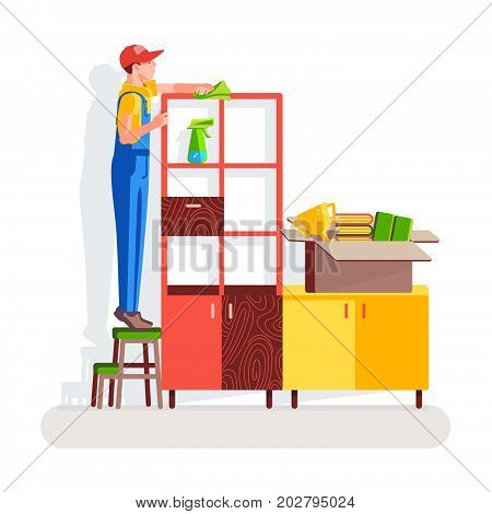 Office cleaning. Worker wipes the dust off the cupboard the office on the background of the interior. Vector illustration in a flat style.