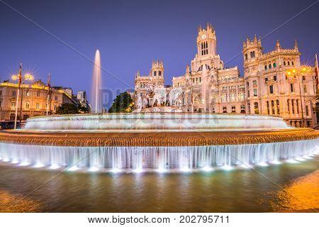 Plaza de la Cibeles (Cybele's Square) - Central Post Office (Palacio de Comunicaciones) Madrid Spain.