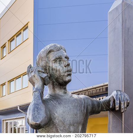 Bronze statue of Goran Karlsson the founder of GeKas emporium in 1963 Scandinavia´s biggest mall Ullared Sweden September 3 2017