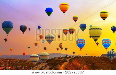 Tourists ride hot air ballons flight Balloon Festival panorama
