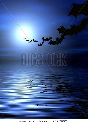Bats flying over the water poster