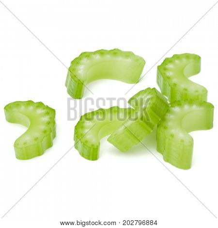 Chopped Celery stalk slices isolated om white background cut out.