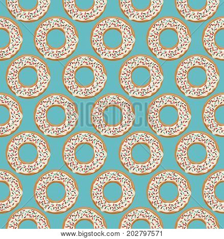 Vector seamless pattern with glazed white chocolate donuts on blue background