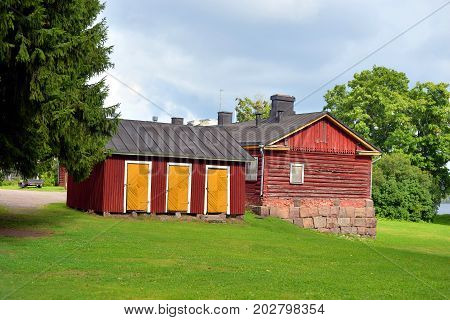 Old wooden house in Fortress Lappeenranta. Lappeenranta - city and municipality in Finland in the province of Eastern Finland.
