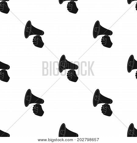 Speaker for voice enhancement. Megaphone in hand single icon in black style vector symbol stock illustration .