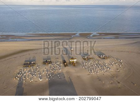 Aerial view of the beach at Sankt Peter Ording, nothern Germany
