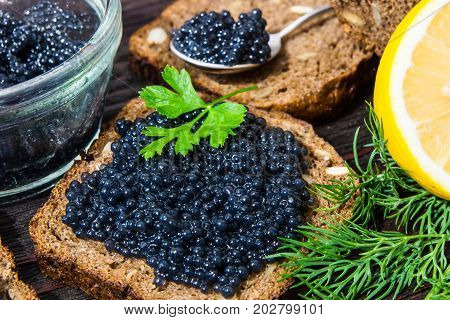 Fresh caviar for snacks and alcohol. Russian appetizer