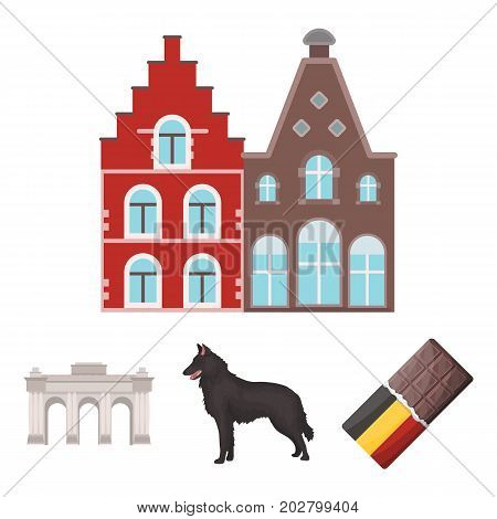 Chocolate, cathedral and other symbols of the country.Belgium set collection icons in cartoon style vector symbol stock illustration .