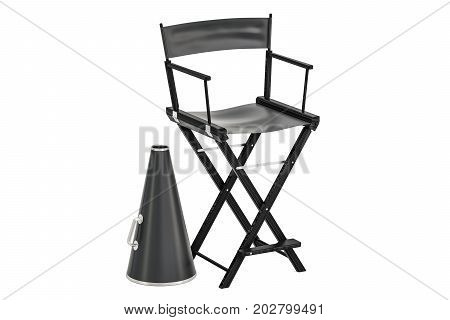 Cinematography concept chair with megaphone. 3D rendering isolated on white background