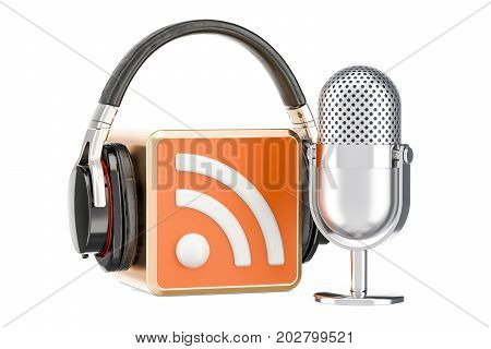 Headphones and microphone with RSS logo podcast 3D rendering