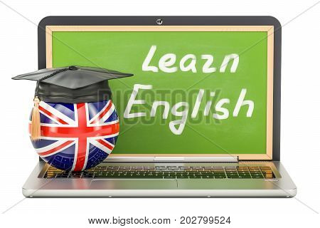 Learn English concept with laptop blackboard and graduation cap 3D rendering