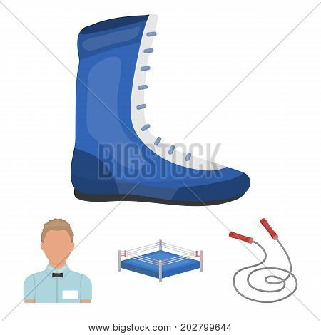 Ring, rope, referee, sneakers .Boxing set collection icons in cartoon style vector symbol stock illustration .