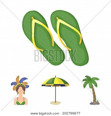 Brazil, country, umbrella, beach . Brazil country set collection icons in cartoon style vector symbol stock illustration .