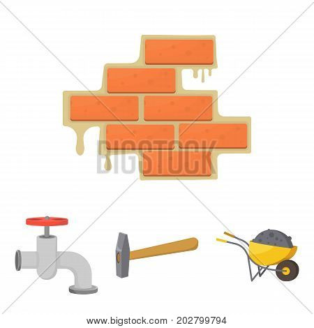 Hammer, wheelbarrow with cargo, water faucet, brickwork. Build and repair set collection icons in cartoon style vector symbol stock illustration .