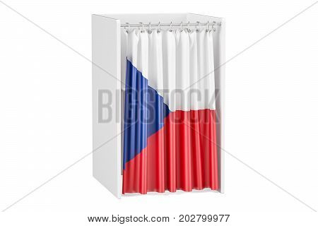 Vote in Czech Republic concept voting booth with flag 3D rendering