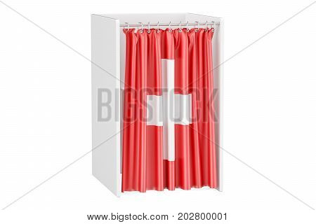 Vote in Switzerland concept voting booth with Swiss flag 3D rendering isolated on white background
