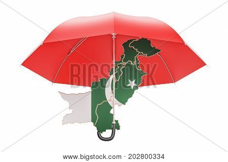 Pakistani map under umbrella. Security and protect concept 3D rendering
