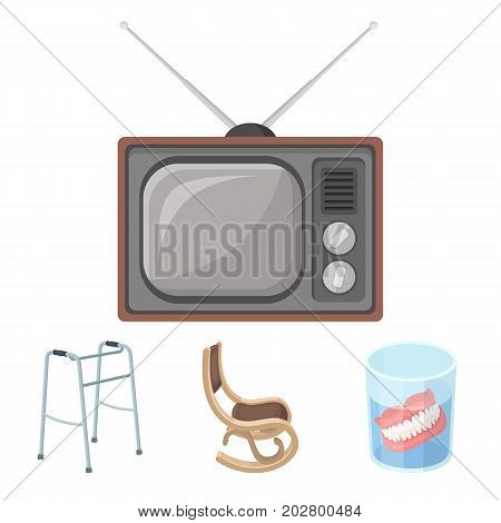 Denture, rocking chair, walker, old TV.Old age set collection icons in cartoon style vector symbol stock illustration .