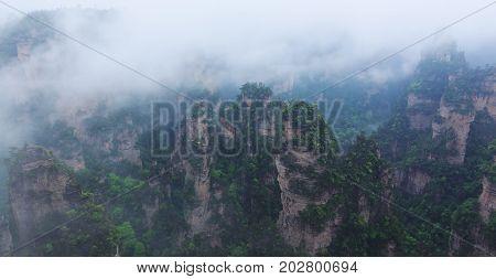 The ethereal peaks of the Wulingyuan scenic area in Zhangjiajie