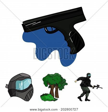 Mask, gun, paint, inventory .Paintball set collection icons in cartoon style vector symbol stock illustration .