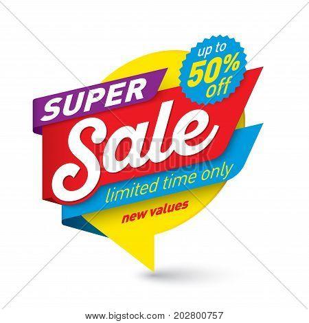 Super sale banner template special offer end of season. Vector illustration