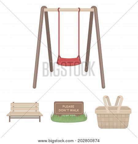 Lawn with a sign, a basket with food, a bench, a swing. Park set collection icons in cartoon style vector symbol stock illustration .