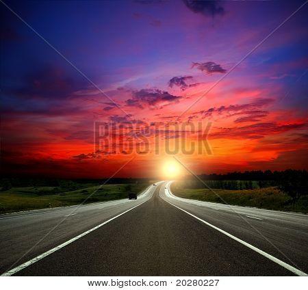 Most asphalt road. Shallow depth of field