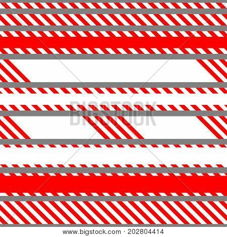 Set of vector seamless tapes used for restriction and danger zones. Red and white stripes.