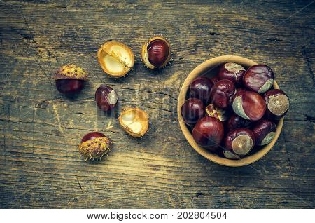 Fresh chestnuts in a bowl on an old wooden table. Group of chestnuts. Chestnuts - fruits horse chestnut - Aesculus hippocastanum. Dark background. Autumn background. Top view.