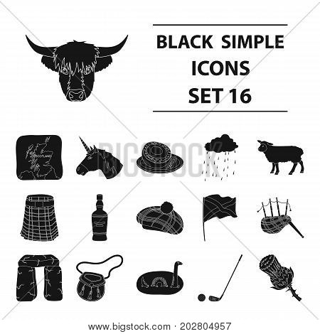 Scotland country set icons in black design. Big collection of Scotland country vector symbol stock illustration