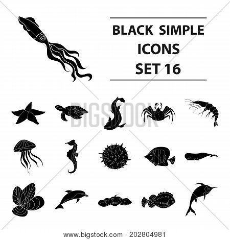 Sea animals set icons in black design. Big collection of sea animals vector symbol stock illustration