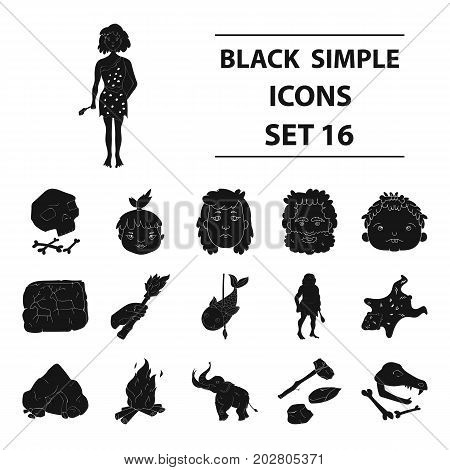 Stone age set icons in black design. Big collection of stone age vector symbol stock illustration
