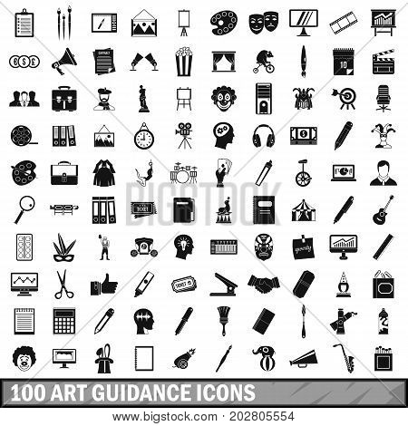 100 art guidance icons set in simple style for any design vector illustration