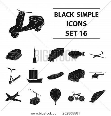 Yacht, funicular, metro transport for the transportation of passengers and cargo. Transport set collection icons in black style vector symbol stock illustration .